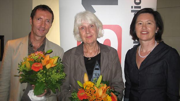 Helmut Maier, Ursula Hohler und DRS 1-Gastgeberin Katharina Kilchenmann.