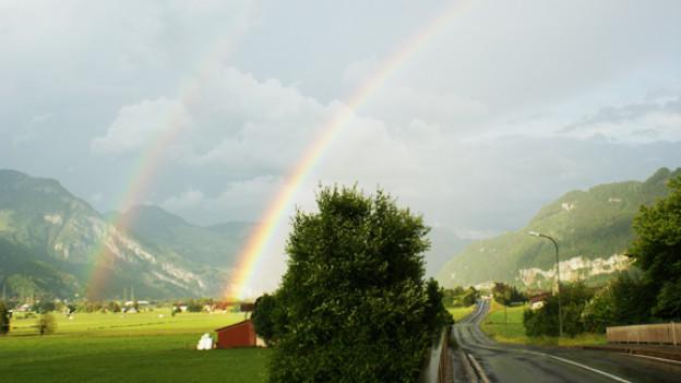 Beeindruckte unser Publikum: Doppelter Regenbogen, Blick von Oberurnen in Richtung Weesen.