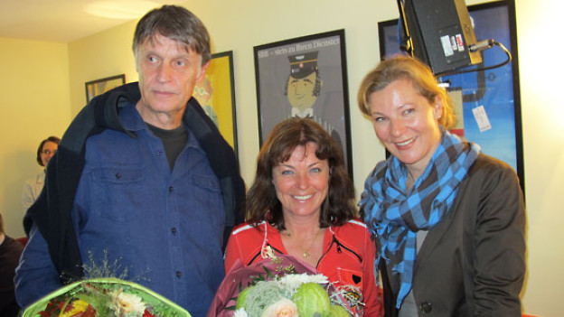 v.l.n.r. Peter Heim, Stadtarchivar; Monika Fasnacht, Moderatorin; Karin Frei, Gastgeberin.