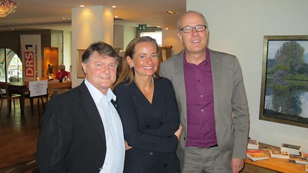Ancillo Canepa, Christina Tsouras und DRS 1-Gastgeber Daniel Hitzig.