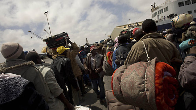 Hunderte von Flüchtlingen in Misrata, Mai 2011.