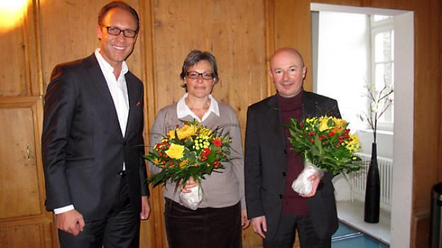 DRS 1-Gastgeber Christian Zeugin, Sigrid Lüber und Manuel Bachmann.