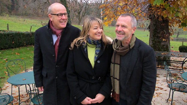 DRS 1-Gastgeber Daniel Hitzig, Gaby Gerber und Markus Ramseier.
