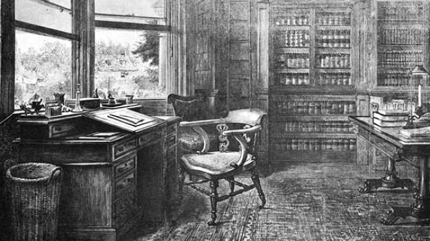 Ein Blick in Dickens' Arbeitszimmer, wo er einen grossen Teil seiner Werke schrieb.