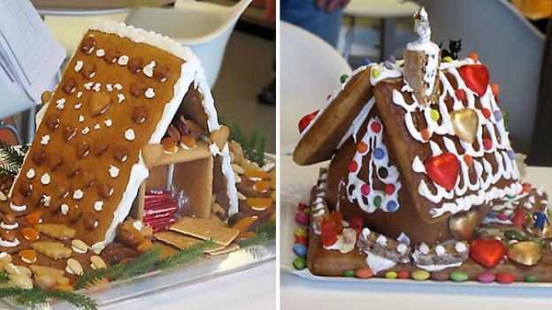 Diese Lebkuchenhäuser wurden von Christine Wenger (links) und Markus und Sandro Bucher (rechts) während der Sendung hergestellt.