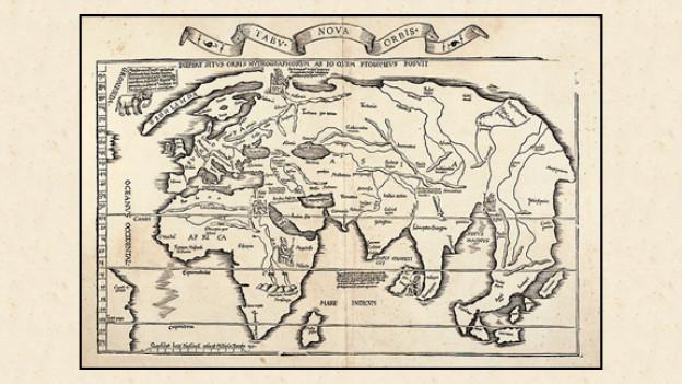 Weltkarte zur Zeit der Entdeckung Amerikas von Laurent Fries 1522.