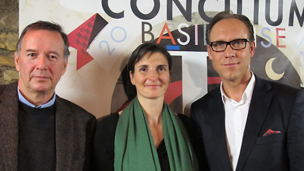 Markus Melzl, Christine Brugger und DRS 1-Gastgeber Christian Zeugin.