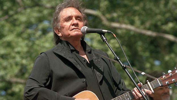 Johnny Cash an einem Benefizkonzert in New York, 1993.