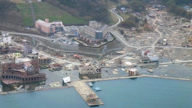 Luftaufnahme des Schweizer Spitals in Onagawa.