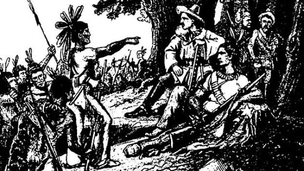 Illustration von Old Shatterhand und Winnetou (sitzend).