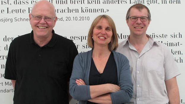 Christian Schmid, Christine Hubacher und Markus Gasser vor der Sendung ...
