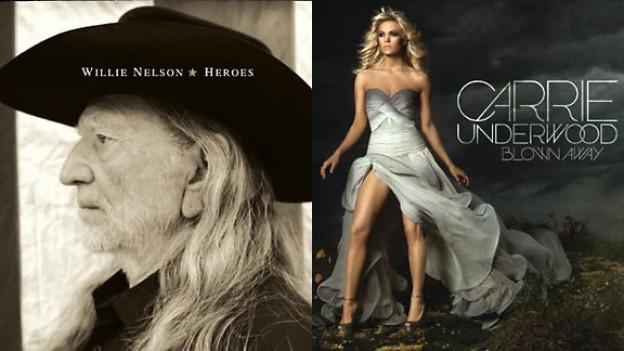 CD-Covers von Willie Nelson und Carrie Underwood.