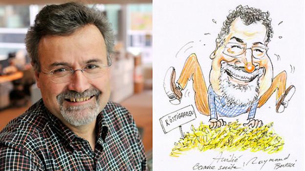 Die beiden Bilder hat Richard Diethelm zum Abschied von «24-heures» erhalten. Das Portrait hat Fotograf Patrick Martin geschossen, die Karikatur stammt von Raymond Burki.