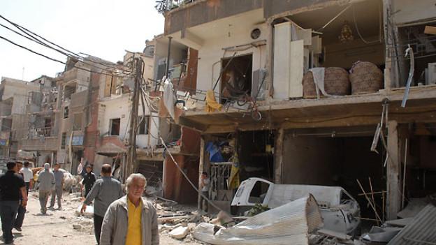 Nach dem Anschlag vom 10. Mai 2012 in Quazaz, Damaskus.