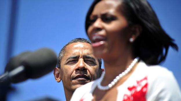 Michelle Obama bei einer Rede vor US-Soldaten im April 2012.