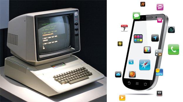 Der Apple II aus dem Jahr 1993 im Grössenvergleich zu einem heutigen Smartphone, das wesentlich mehr kann als seine Vor-, Vor-, Vorgänger.