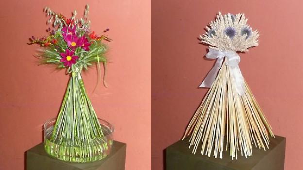 Stehstrauss mit frischen Schnittblumen oder getrockneten Ähren und Blumen.