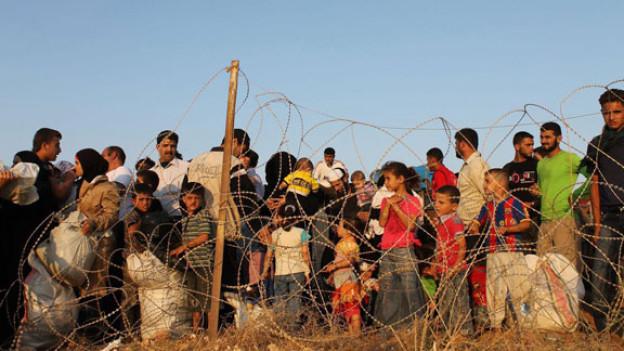 Flüchtlinge an der syrisch-türkischen Grenze in Hatay (Türkei) warten darauf, sich registrieren zu können.