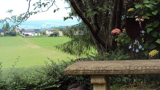 Beim Autor Ernst Burren im Garten. Seine Figur Otti hat ein Leben lang den Hof nicht verlassen.