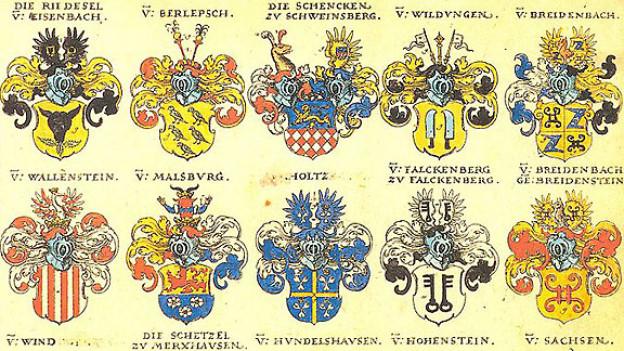 Einige hessische Adelswappen aus Siebmachers Wappenbuch von 1605.