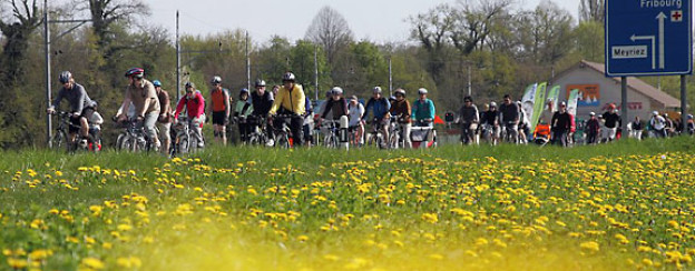 Radfahrer und Skater am Slowup Murtensee.