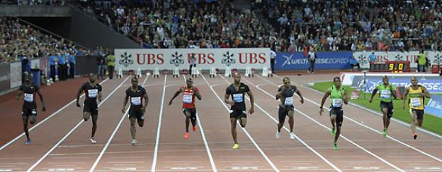 100 Meter Sprint im Letzigrund an der Weltklasse Zürich 2011.