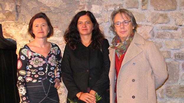 DRS 1-Gastgeberin Katharina Kilchenmann, Lisa Peinando und Massimo Rocchi.