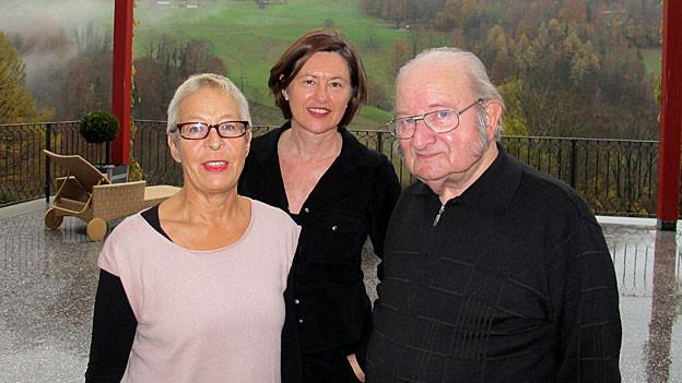 Heidi Wernli, DRS 1-Gastgeberin Katharina Kilchenmann und Karl Imfeld.