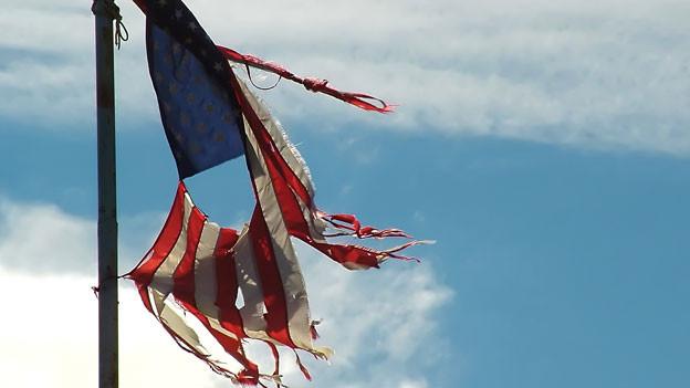 Zerfledderte USA Fahne