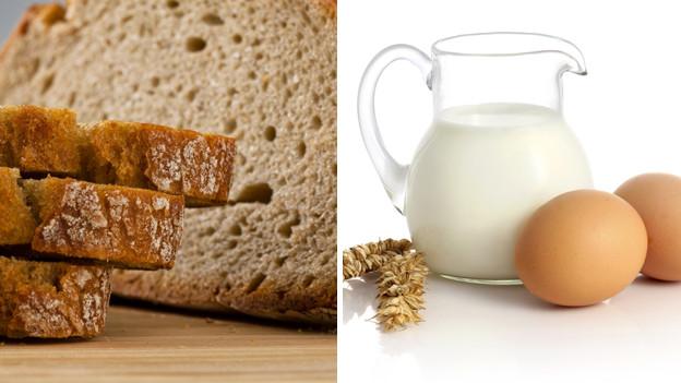 Hauptzutaten für Vogelheu: Brot, Milch, Eier.