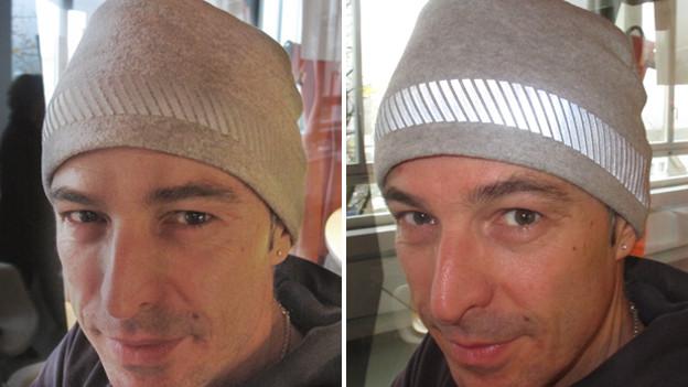 Dani Fohrler teste die fluoreszierende Kappe: Links ohne starken Lichteinfall, rechts mit Blitz. Der Streifen kann lebensrettend sein.