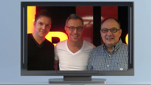 Diese 3 Moderatoren sind am Fernsehen zu sehen und im Radio zu hören: Sven Epiney, Dani Fohrler und Beni Thurnheer (v.l.n.r.).