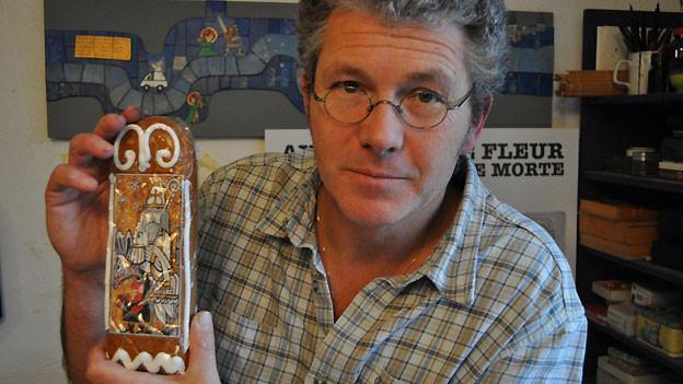 Lebkuchen mit Samichlaus-Sujet von Künstler Frédéric Aeby.