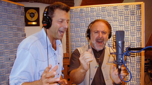 Bo Katzman und Peter Reber bei den Studioaufnahmen zum «2 x Weihnachten»-Song.