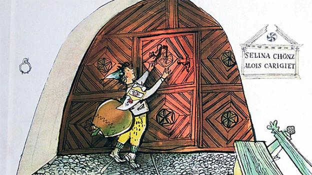 Schellenursli vor grosser Eingangstür zu Engadinerhaus.