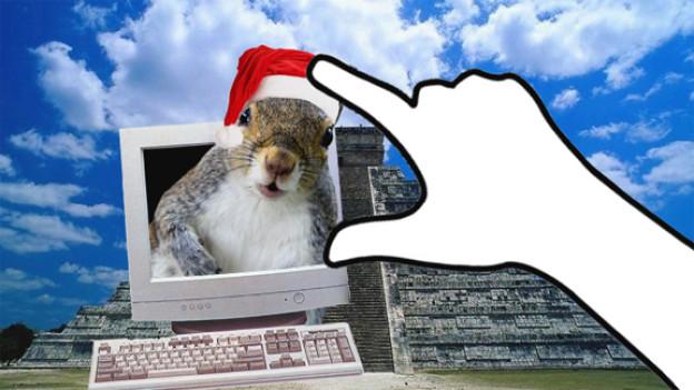 Das Eichhörnchen wünscht allen frohe Festtage und einen guten Weltuntergang