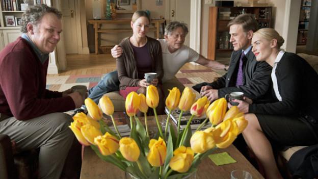 Roman Polanski (Mitte) mit seinen Stars (von links) John C. Reilly, Jodie Foster, Christoph Waltz und Kate Winslet.