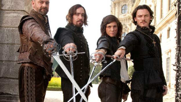 Von links: Porthos (Ray Stevenson), Athos (Matthew MacFaden), D'Artagnan (Logan Lerman) und Aramis (Luke Evans).