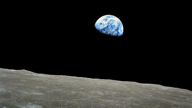 Dieses Foto wurde am 24. Dezember 1968 während des Fluges der Apollo 8 geschossen.