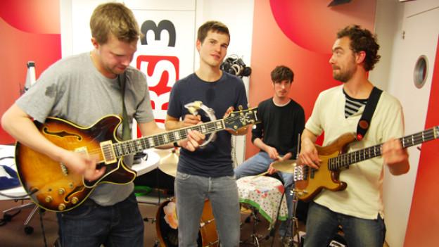 James Gruntz und Band bei den Aufnahmen im DRS 3-Studio.