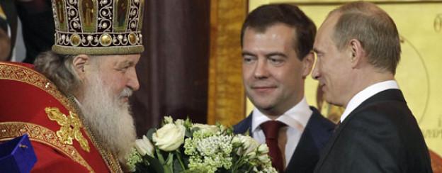 Mächtige Troika: Patriarch Kyrill, Ministerpräsident Medwedew und Präsident Putin