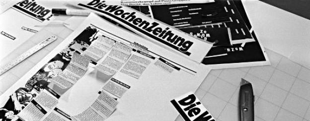 Die erste Ausgabe der Wochenzeitung entsteht.