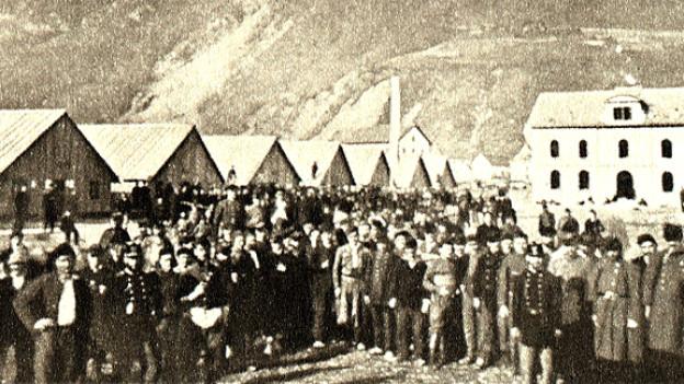 Internierte Soldaten der französischen Bourbaki-Armee in Walenstadt, Februar oder März 1871.