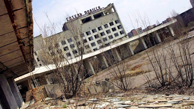 Die Geisterstadt Pripyat, infolge des Reaktorunglücks von 1986 geräumt.