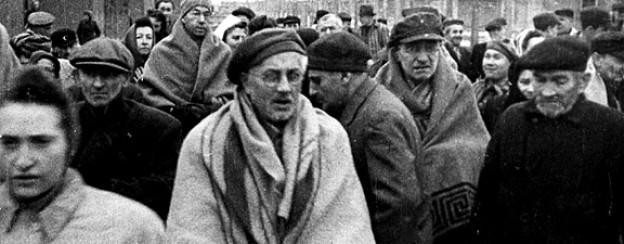 Auschwitz-Überlebende im Januar 1945.