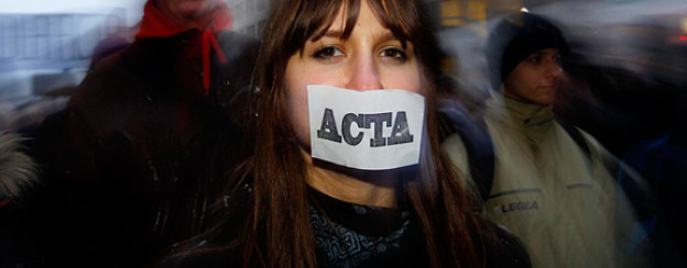 Acta-Demonstration in Warschau, Januar 2012.