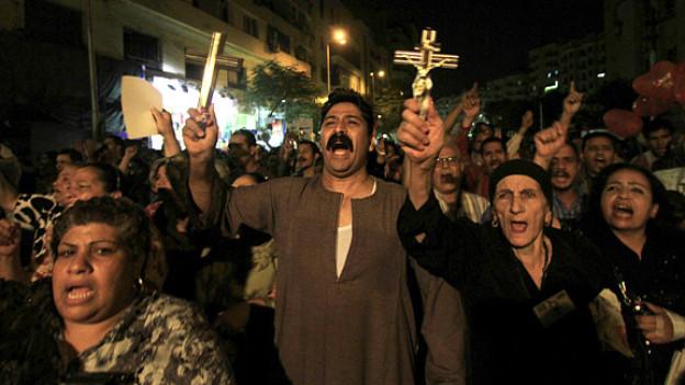 Demonstration gegen Gewalt: Kopten in Ägypten im Oktober 2011.