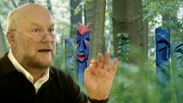 Fritz Roth, «Enfant terrible» des Bestattungswesens. Ebenfalls im Bild: Urnengräber im Waldgarten des Hauses der Menschlichen Begleitung.