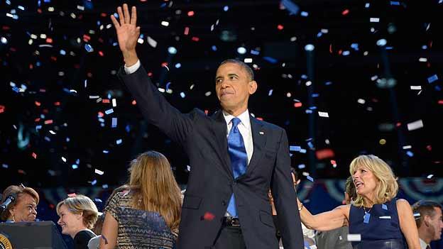 Wiedergewählt: Präsident Obama feiert seinen Wahlsieg in Chicago.