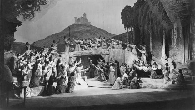 Die Schlussszene von «Tannhäuser» bei den Bayreuther Festspielen 1930.